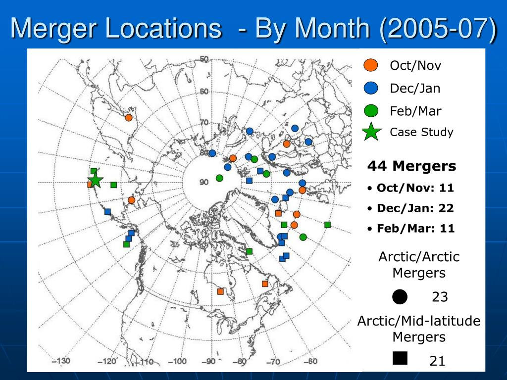 Merger Locations  - By Month (2005-07)