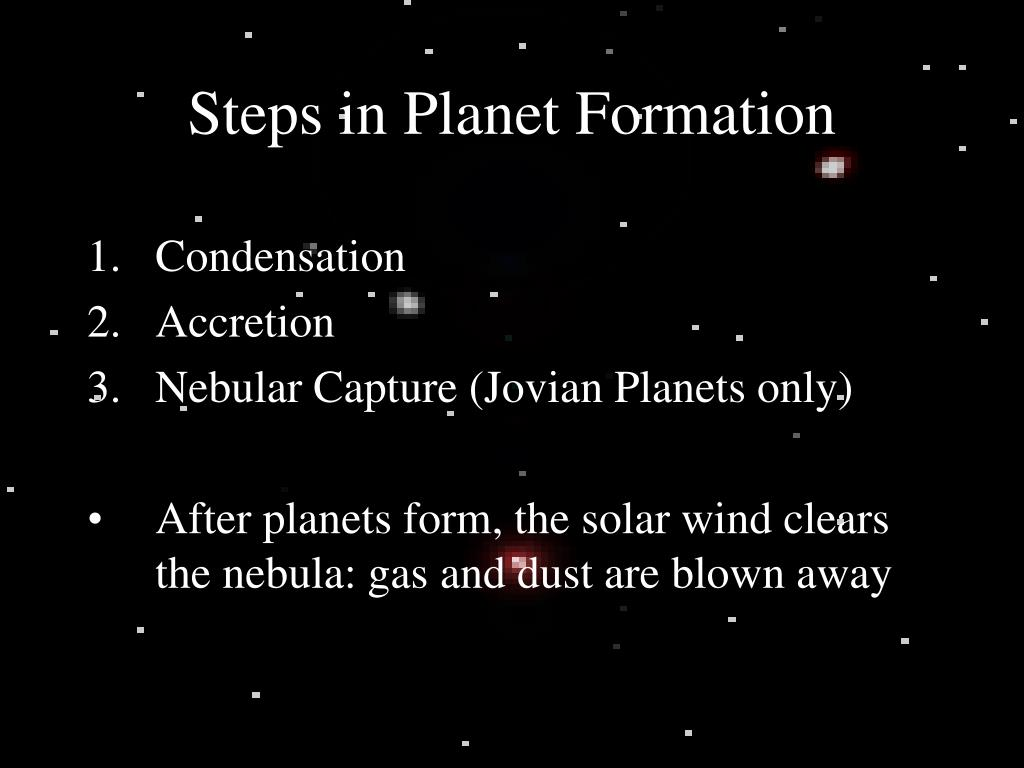 Steps in Planet Formation