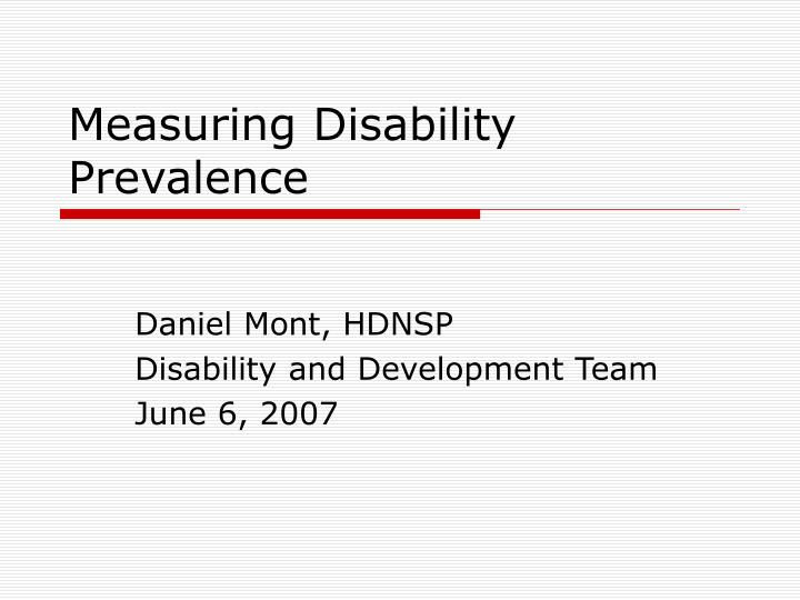 measuring disability prevalence n.