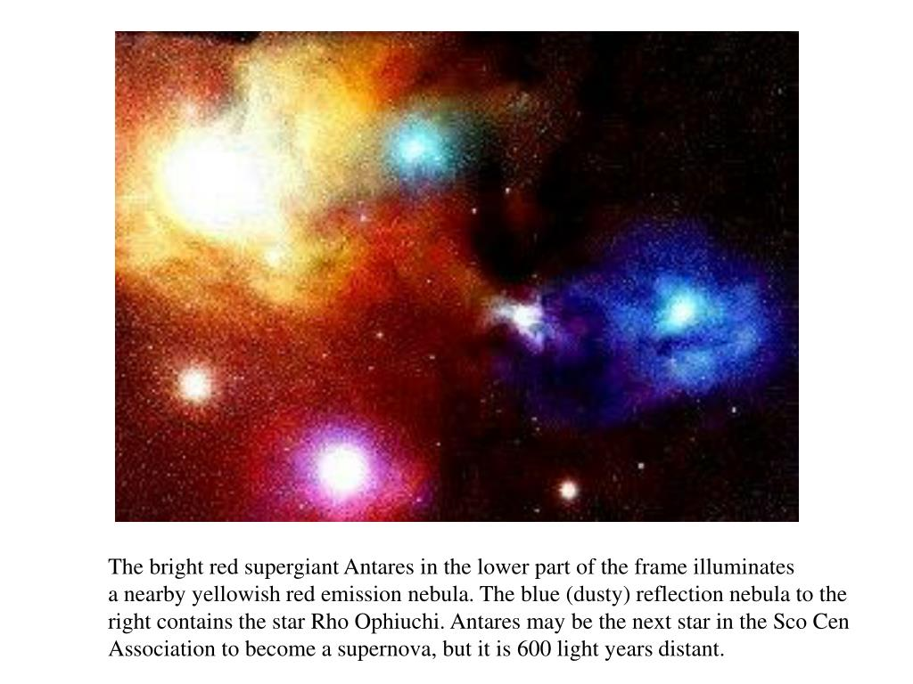 The bright red supergiant Antares in the lower part of the frame illuminates
