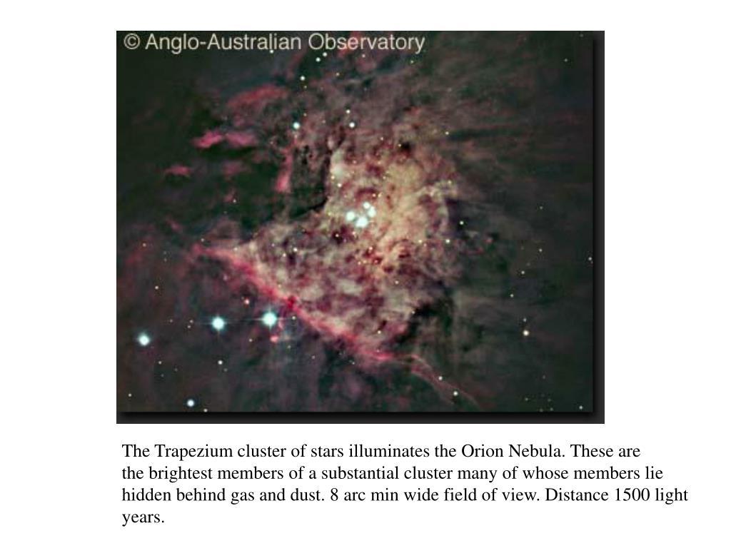 The Trapezium cluster of stars illuminates the Orion Nebula. These are