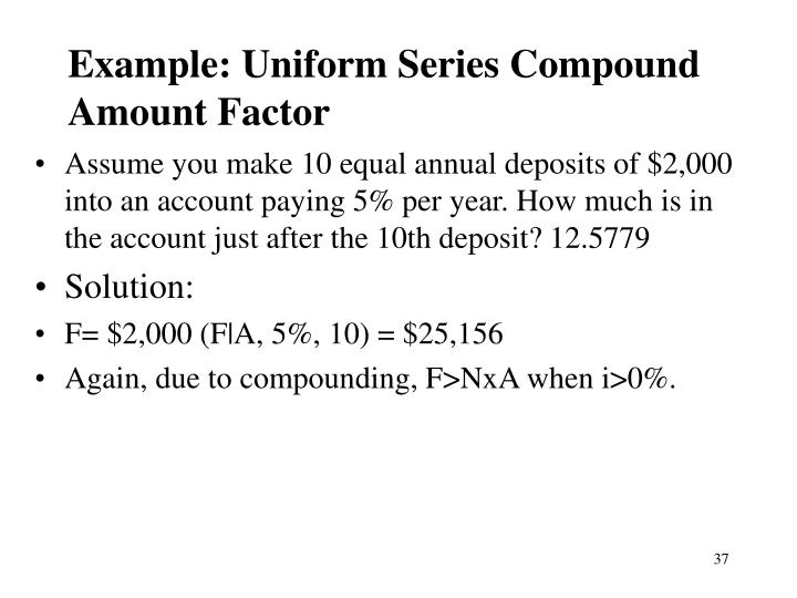 Example: Uniform Series Compound Amount Factor