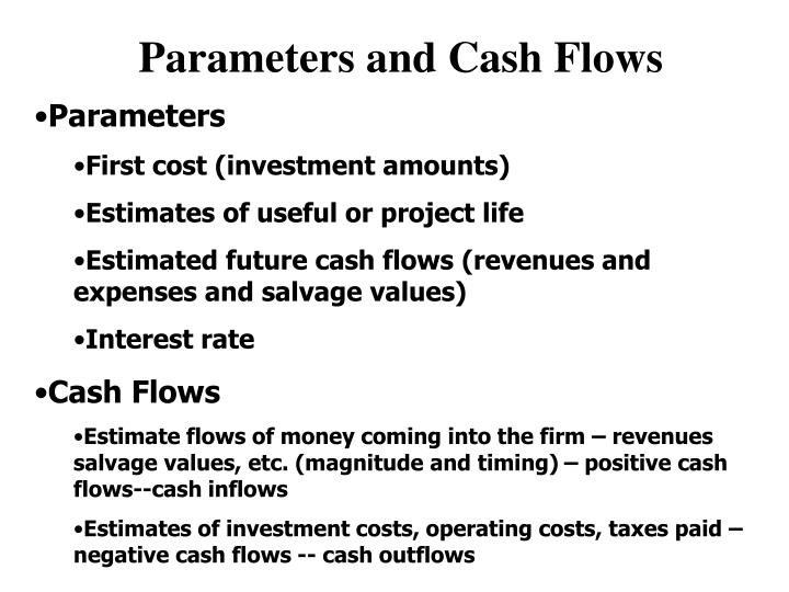 Parameters and Cash Flows