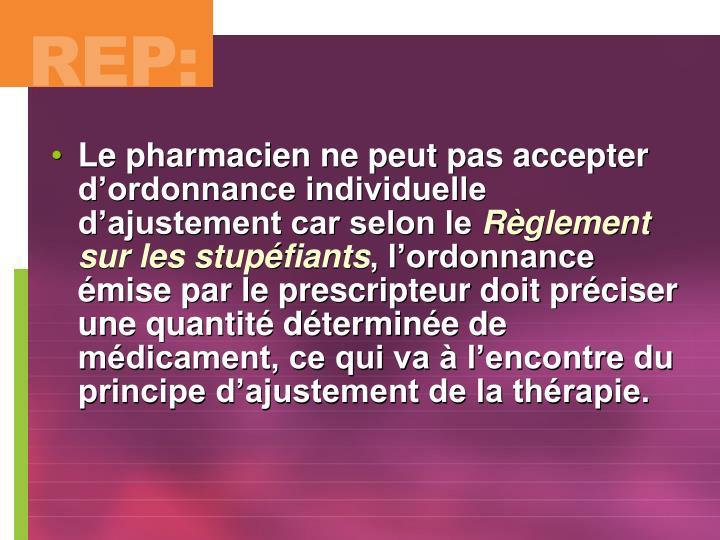 Le pharmacien ne peut pas accepter d'ordonnance individuelle d'ajustement car selon le