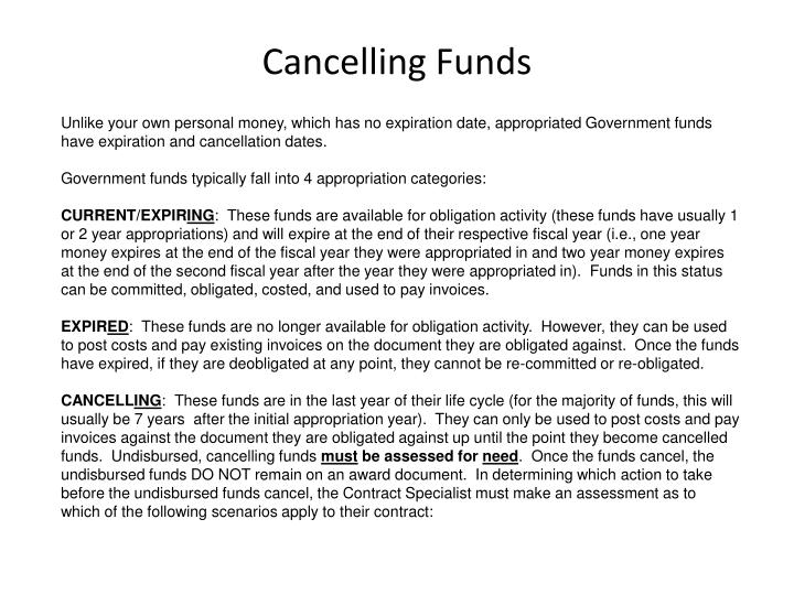 Cancelling funds