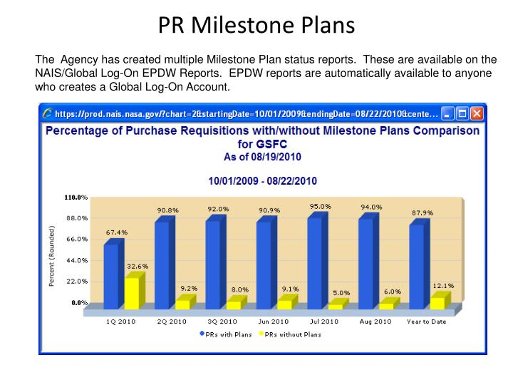 The  Agency has created multiple Milestone Plan status reports.  These are available on the NAIS/Global Log-On EPDW Reports.  EPDW reports are automatically available to anyone who creates a Global Log-On Account.