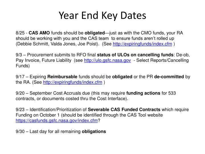 Year end key dates