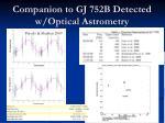 companion to gj 752b detected w optical astrometry