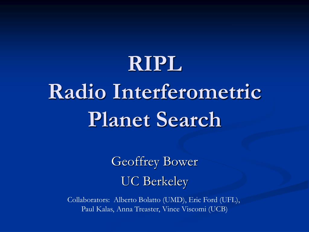 ripl radio interferometric planet search l.