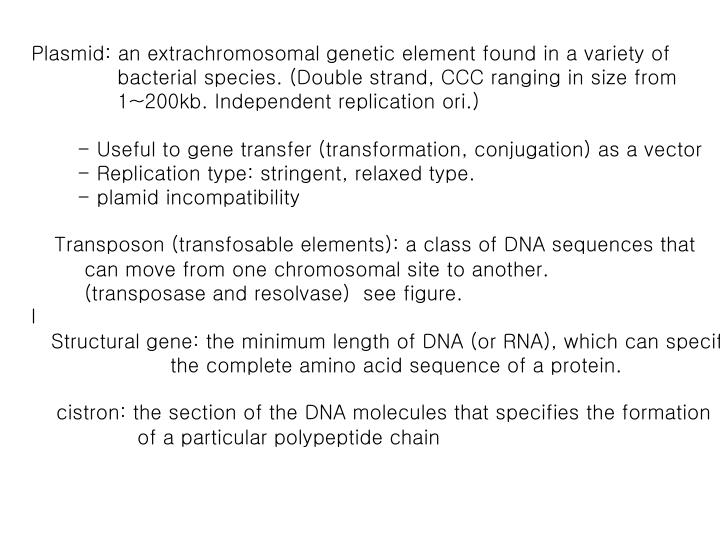 Plasmid: an extrachromosomal genetic element found in a variety of