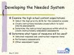 developing the needed system