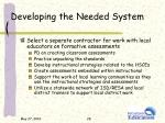 developing the needed system2