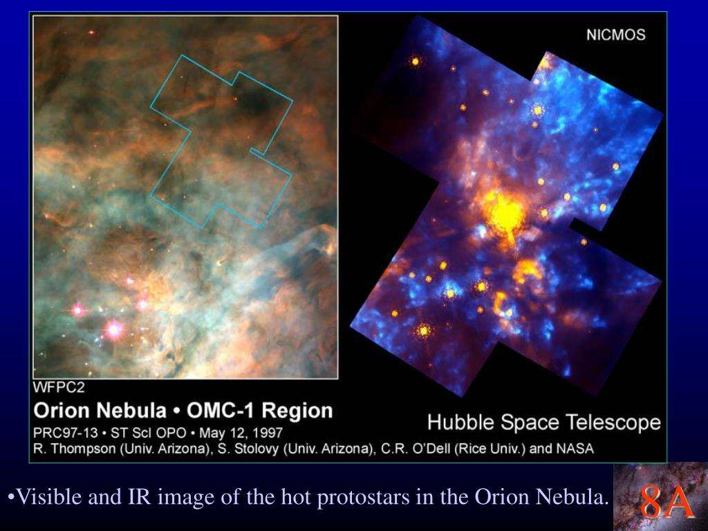 Visible and IR image of the hot protostars in the Orion Nebula.
