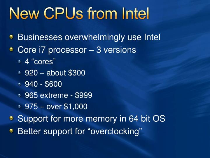 New CPUs from Intel