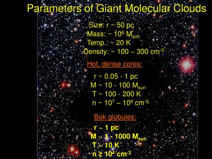 Parameters of giant molecular clouds