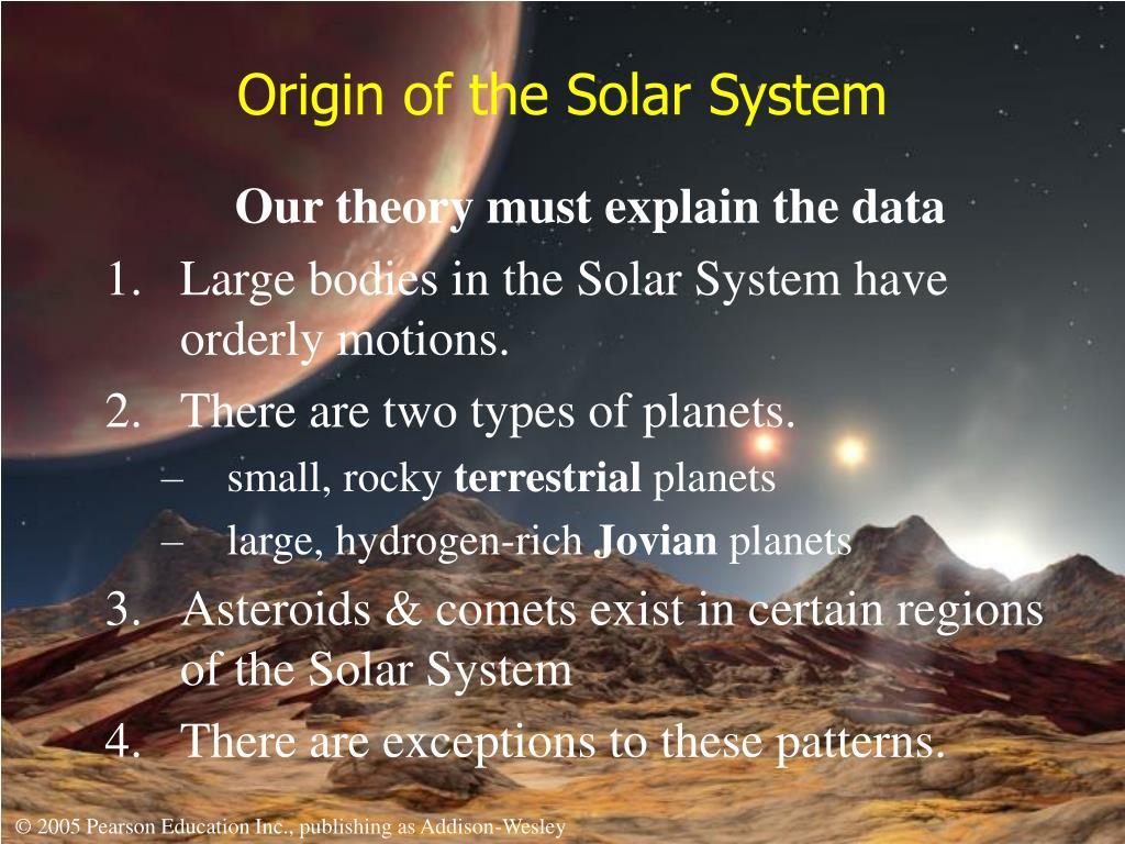 origin of the solar system l.