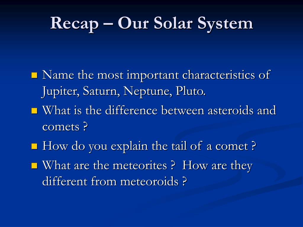 recap our solar system