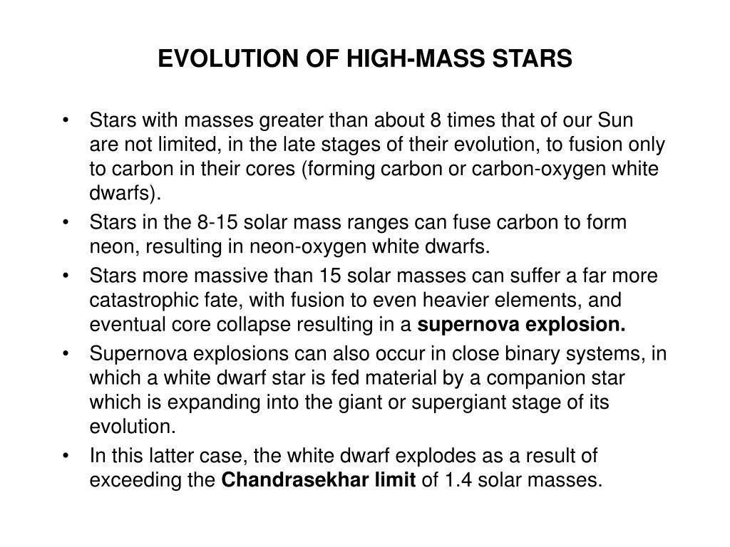 EVOLUTION OF HIGH-MASS STARS
