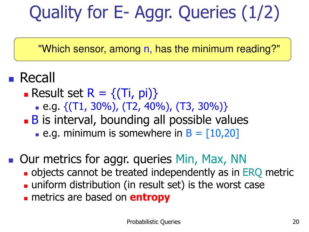 Quality for E- Aggr. Queries (1/2)