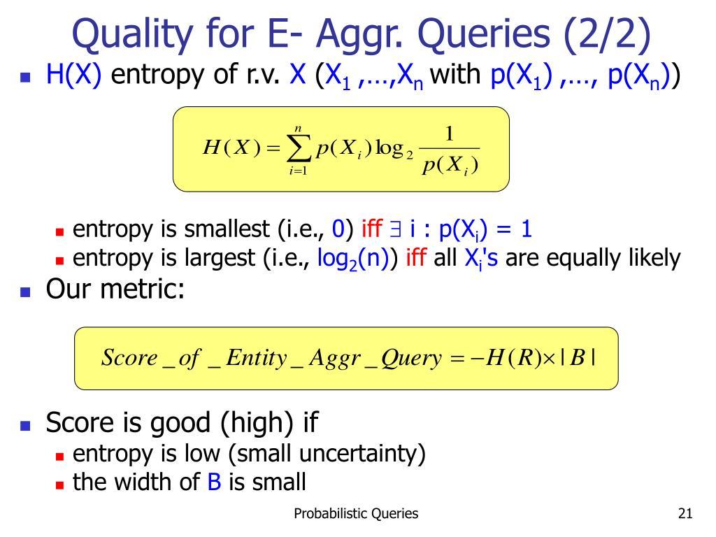 Quality for E- Aggr. Queries (2/2)