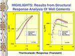 highlights results from structural response analysis of well cements2
