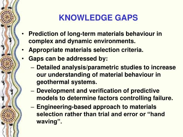 KNOWLEDGE GAPS