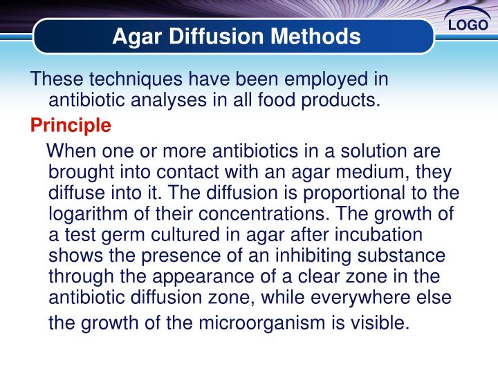 Agar Diffusion Methods