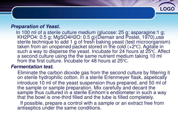 Preparation of Yeast.