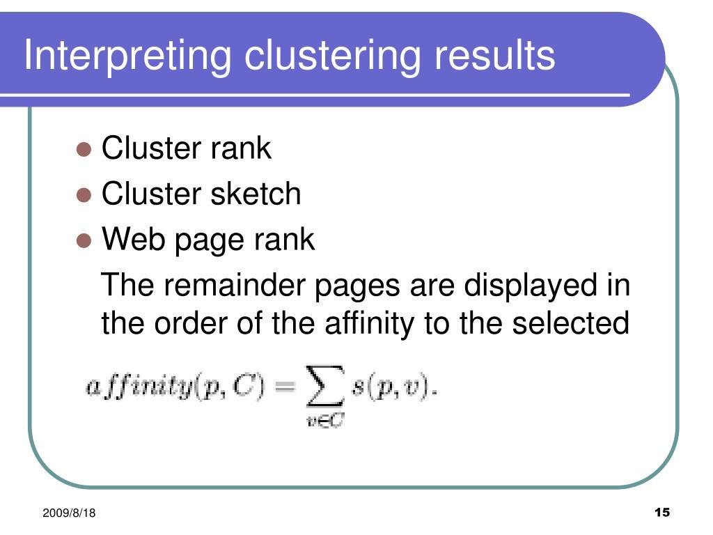 Interpreting clustering results