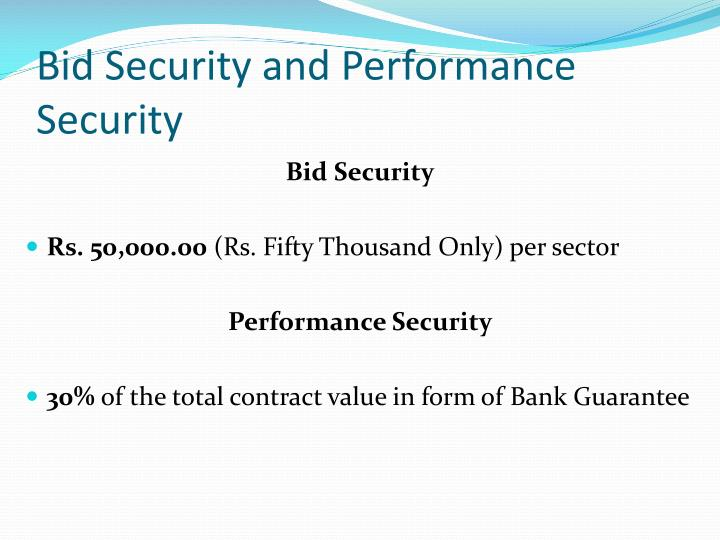 Bid Security and Performance Security