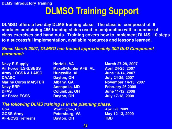 DLMSO Training Support