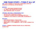 one page story tying it all up