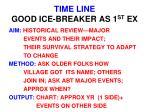time line good ice breaker as 1 st ex