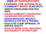 uses of participatory learning for action pla
