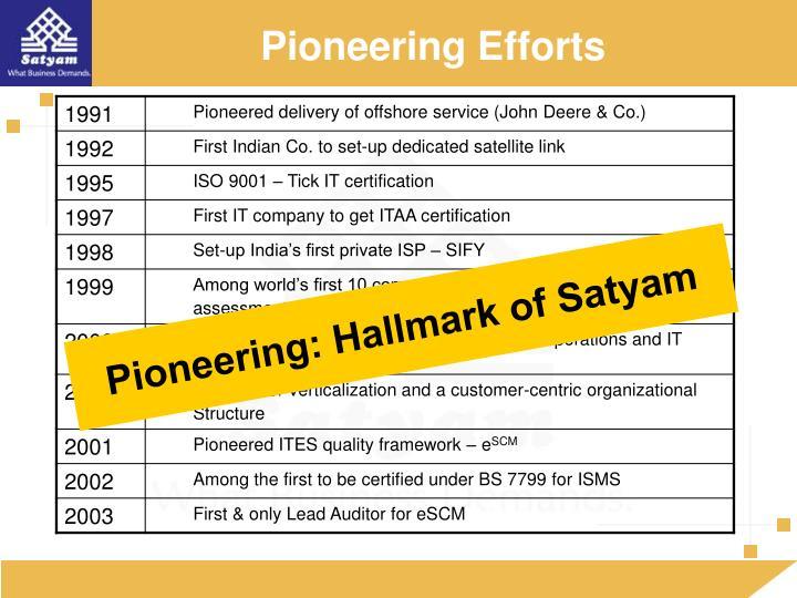 Pioneering Efforts