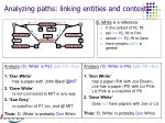 analyzing paths linking entities and contexts