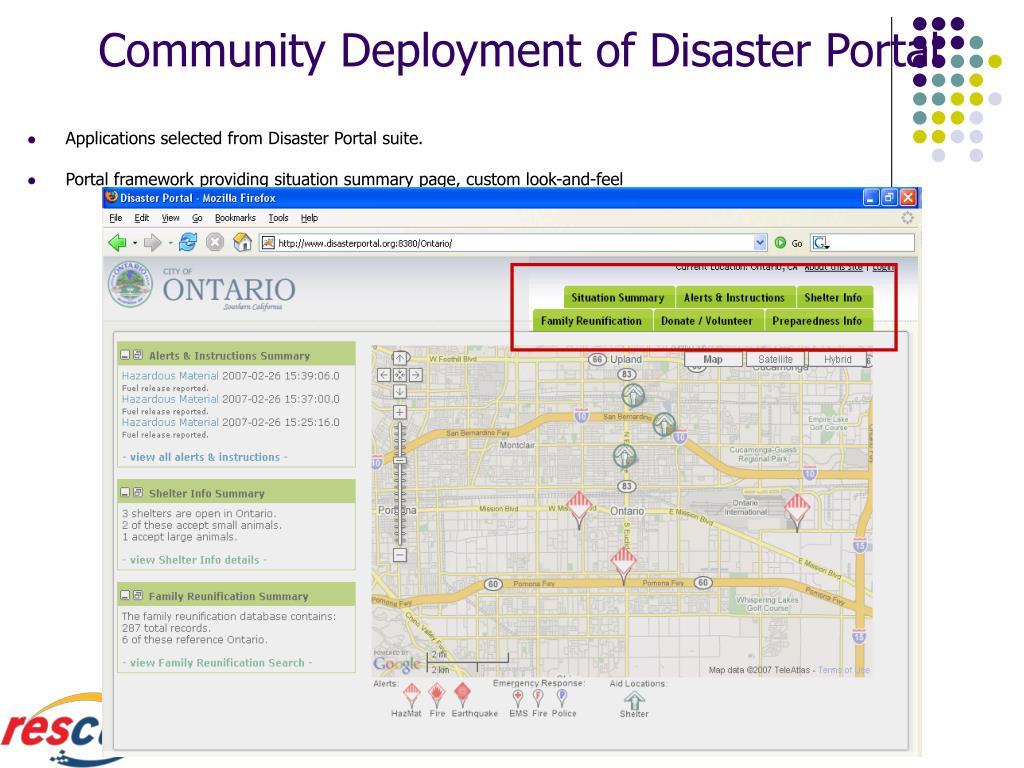 Community Deployment of Disaster Portal