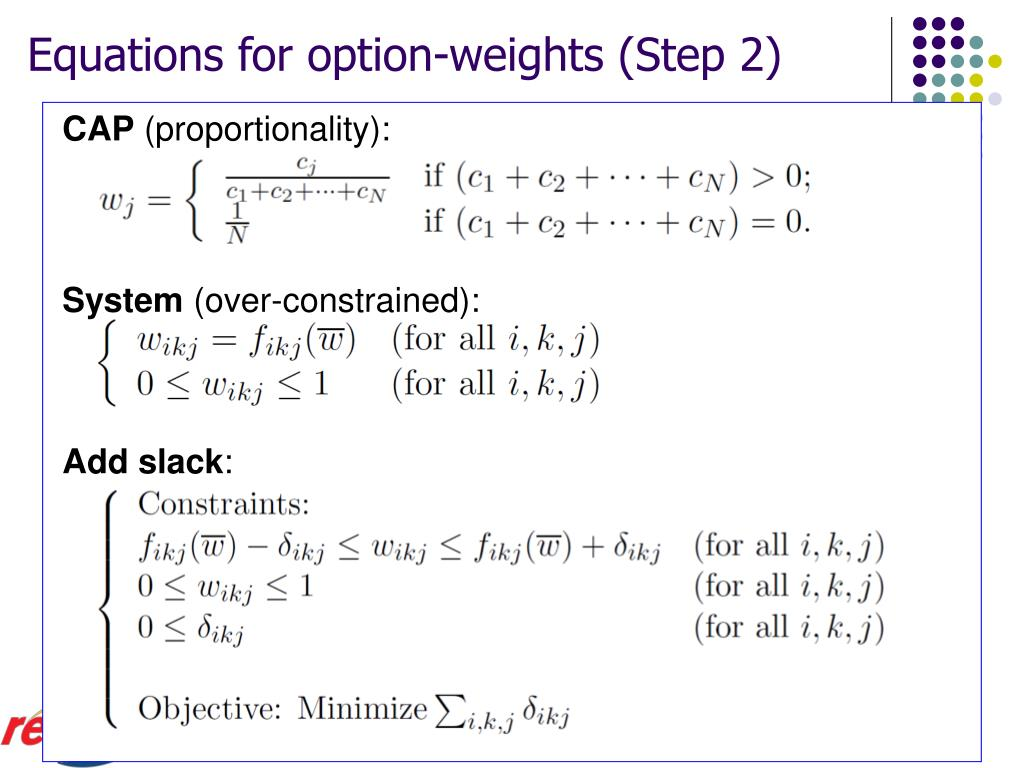 Equations for option-weights (Step 2)