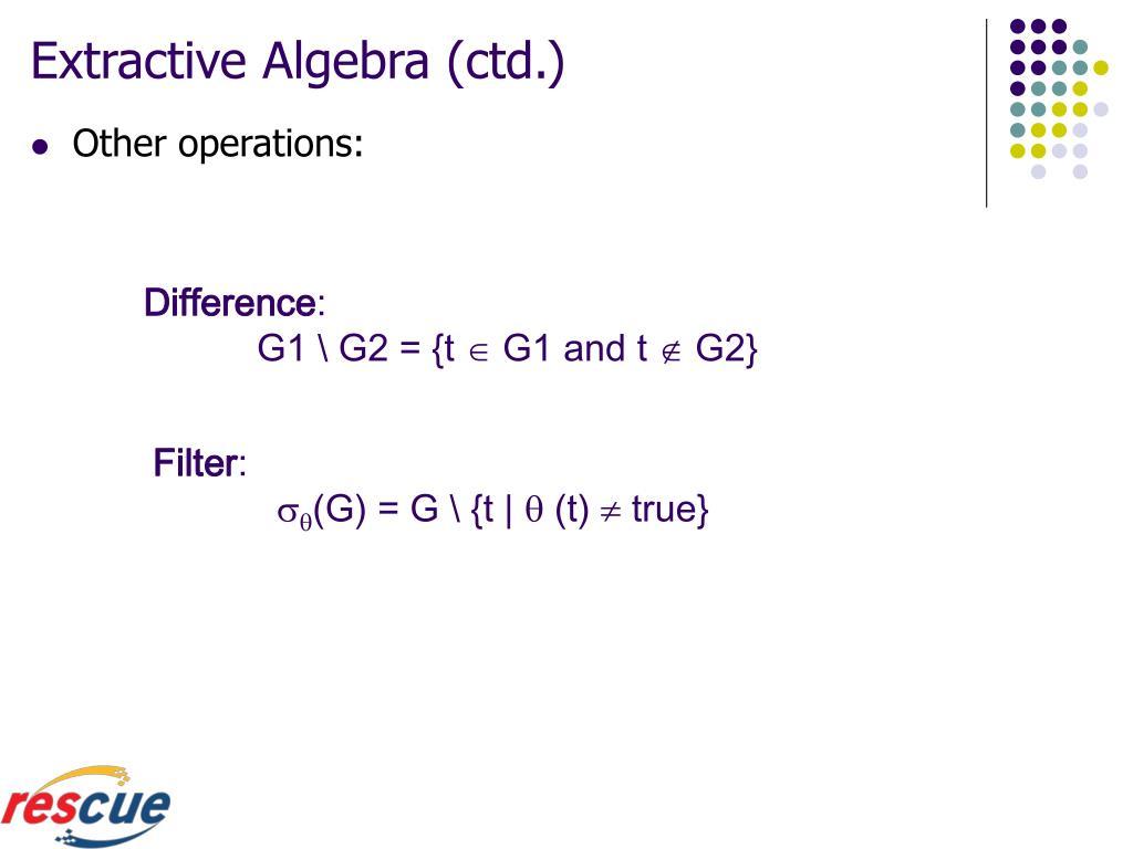 Extractive Algebra (ctd.)