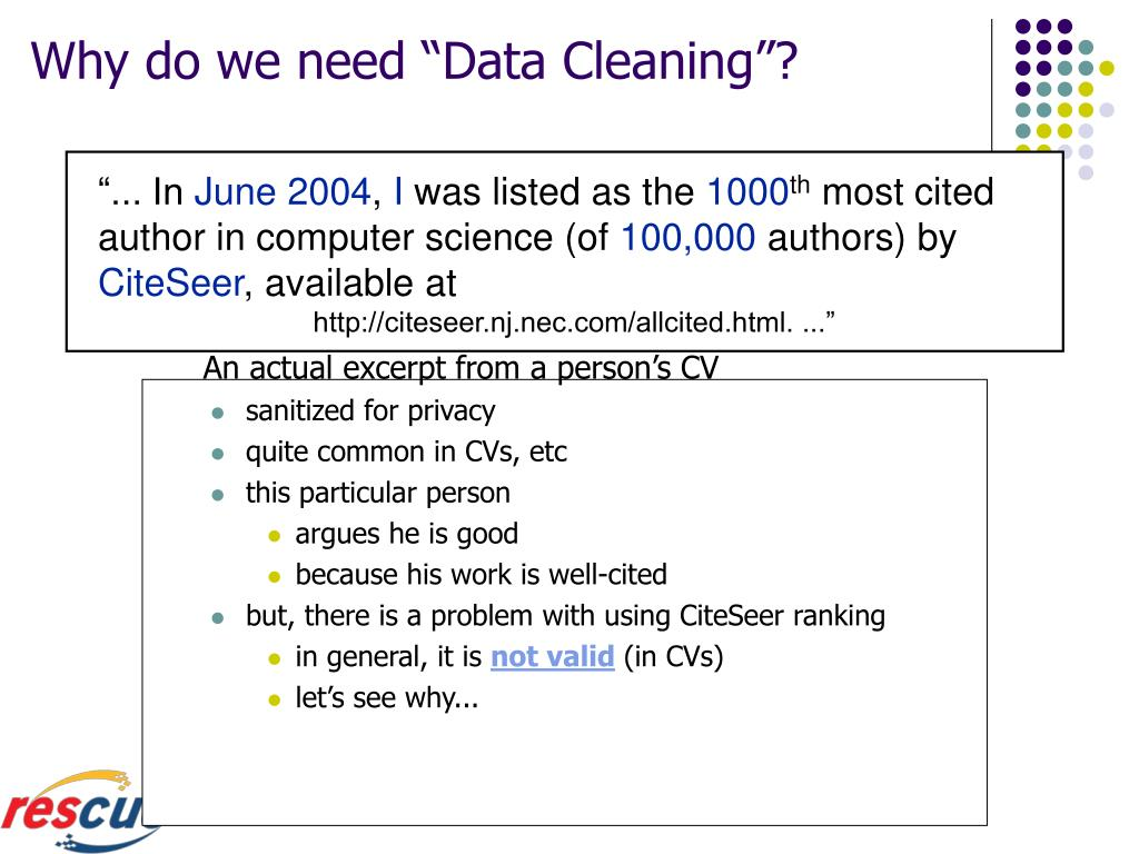 """Why do we need """"Data Cleaning""""?"""