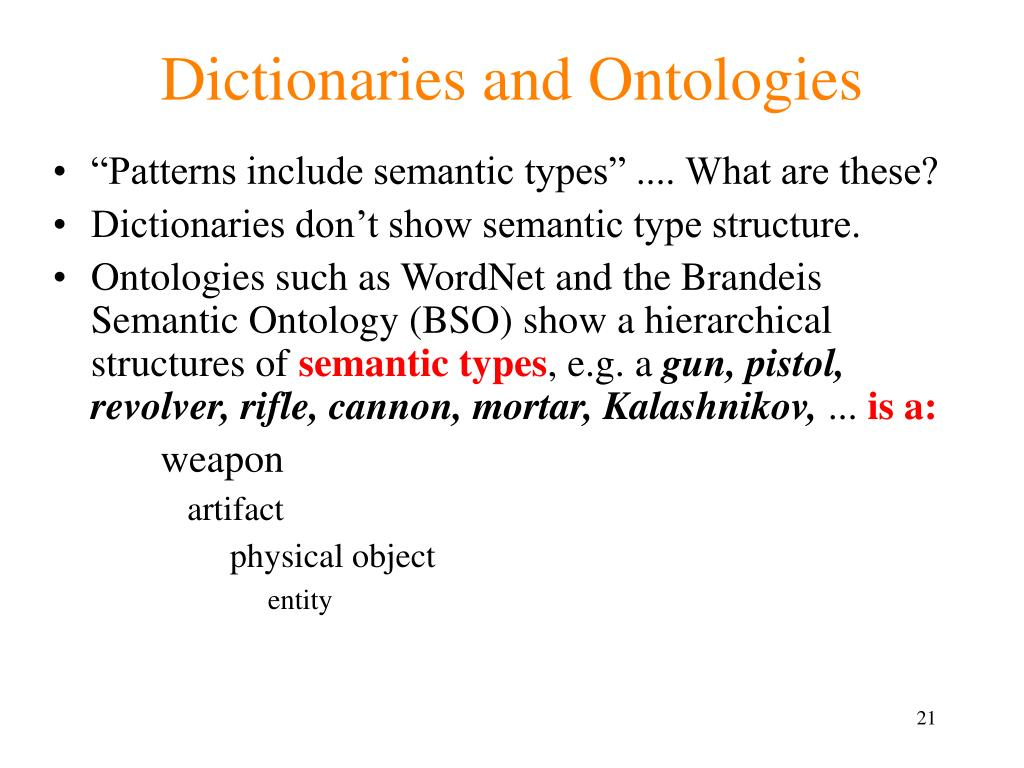Dictionaries and Ontologies