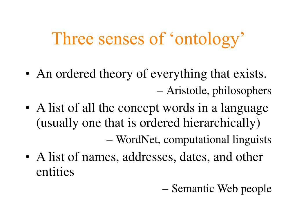 Three senses of 'ontology'