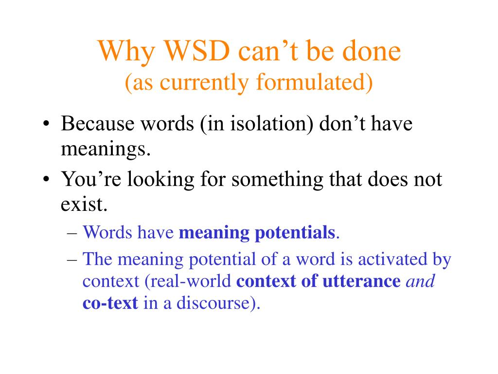 Why WSD can't be done