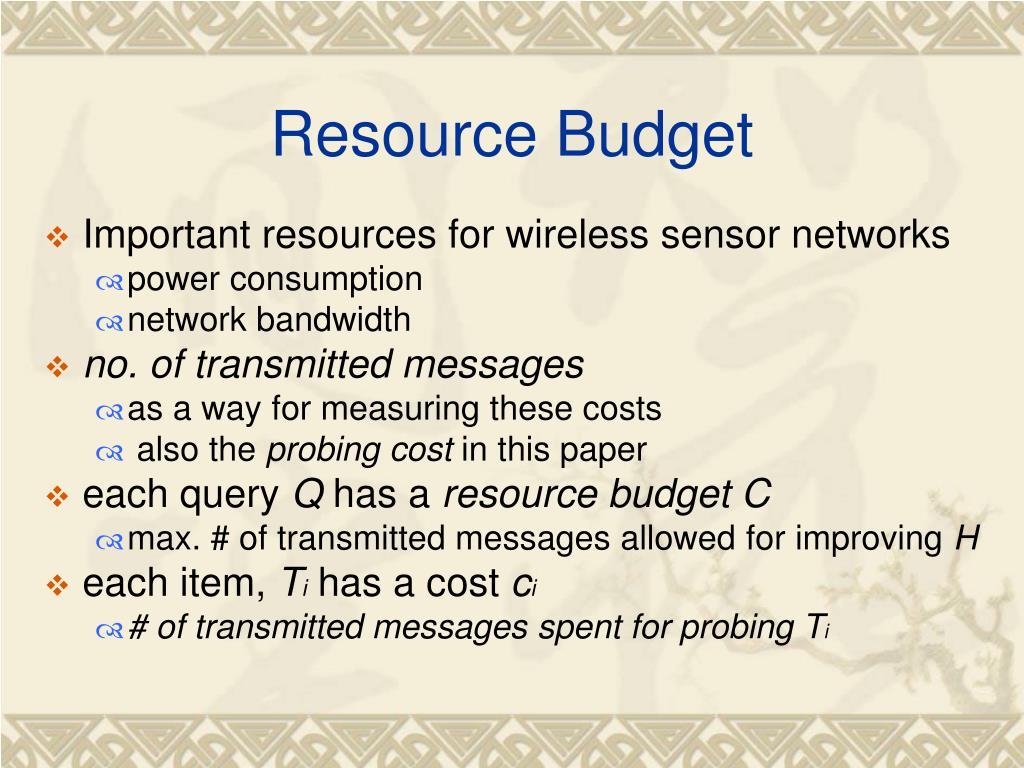Resource Budget