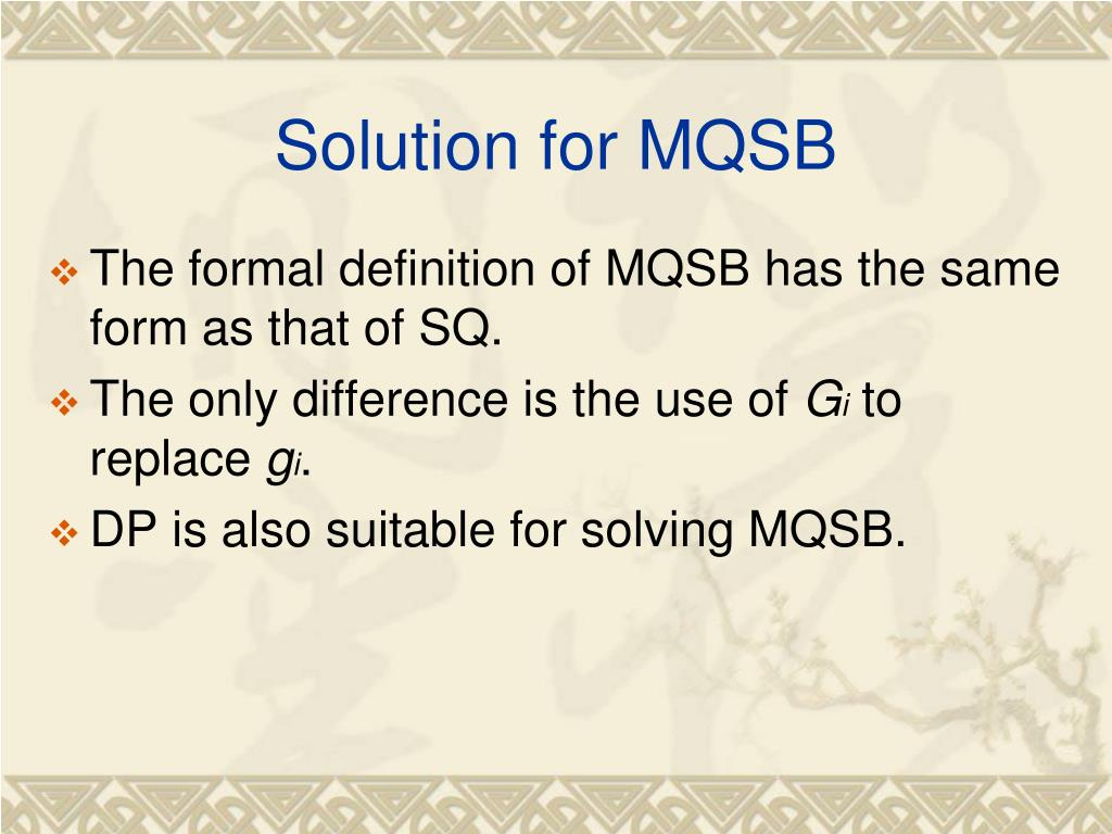 Solution for MQSB