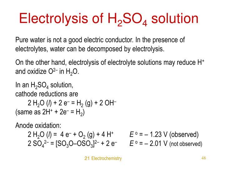 Electrolysis of H
