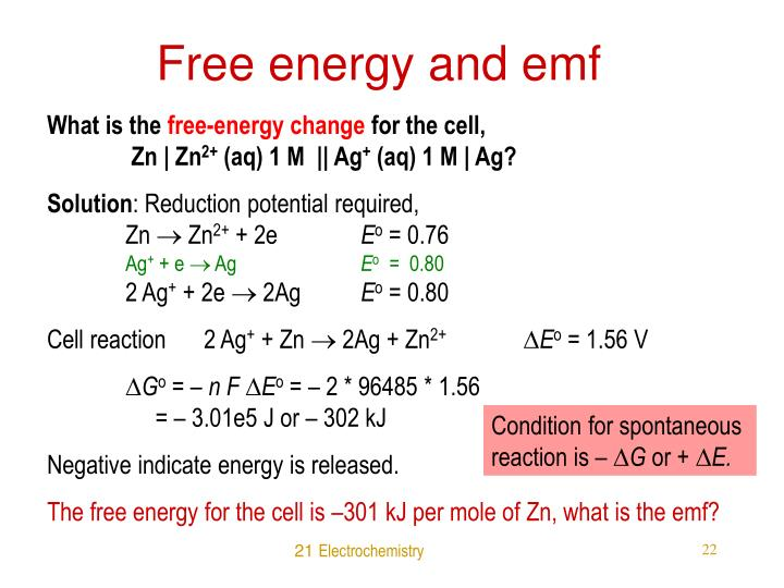 Free energy and emf