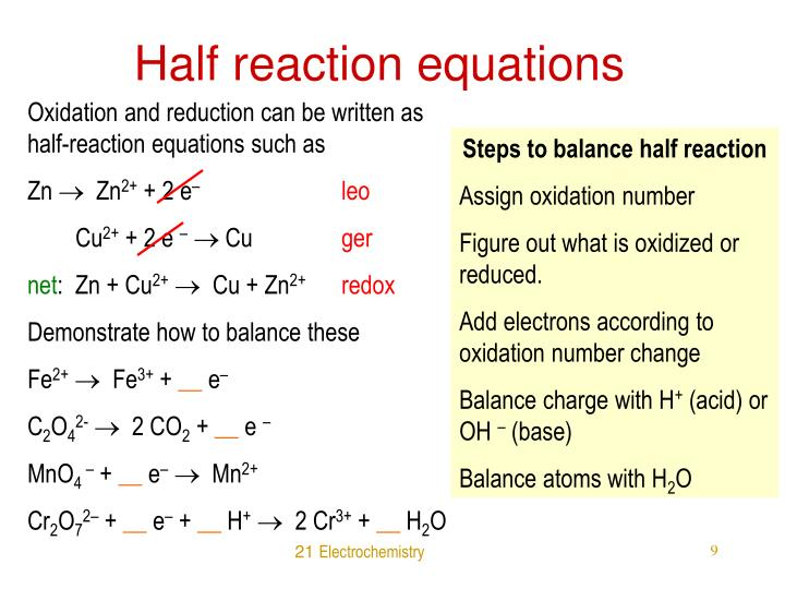 Half reaction equations