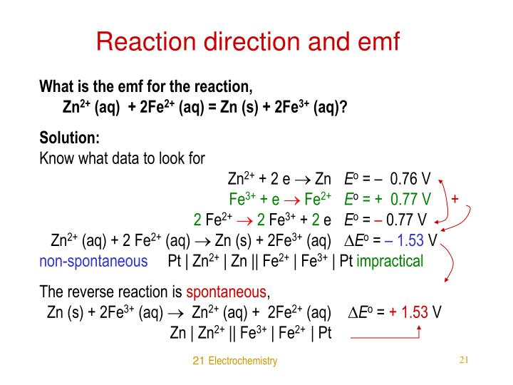 Reaction direction and emf