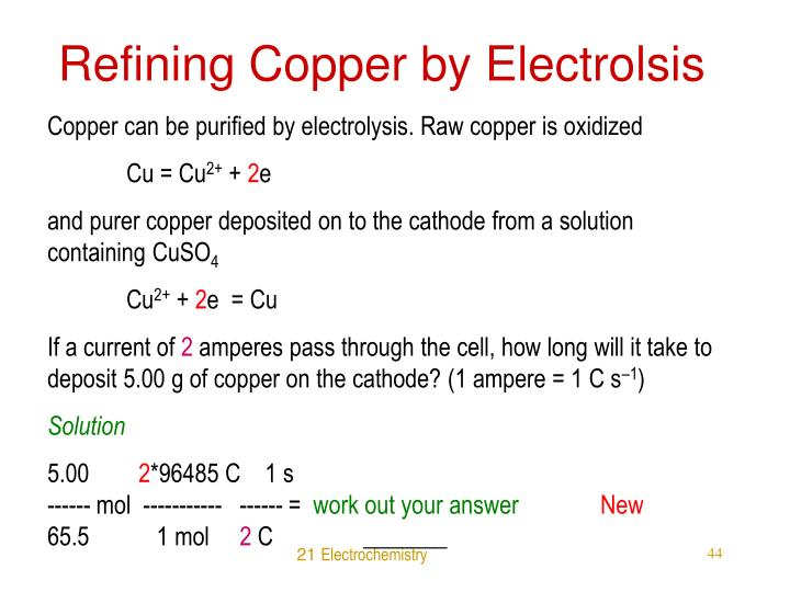 Refining Copper by Electrolsis